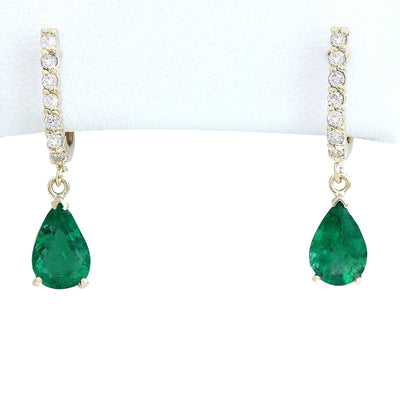 2.80 Carat Natural Emerald 14K Solid Yellow Gold Diamond Earrings - Fashion Strada