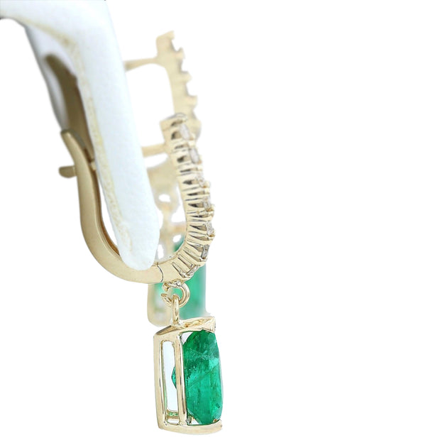 2.80 Carat Natural Emerald 14K Solid Yellow Gold Diamond Earrings