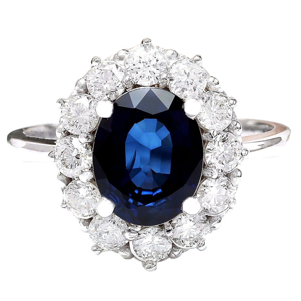 3.78 Carat Natural Sapphire 14K Solid White Gold Diamond Ring - Fashion Strada