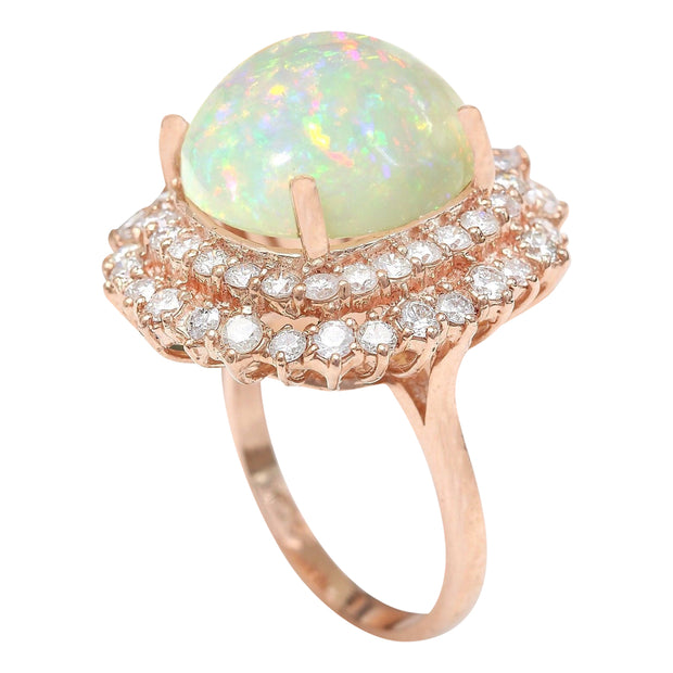 7.70 Carat Natural Opal 14K Solid Rose Gold Diamond Ring