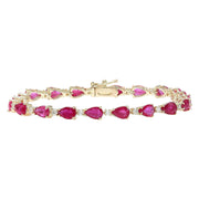 9.50 Carat Natural Ruby 14K Solid Yellow Gold Diamond Bracelet - Fashion Strada