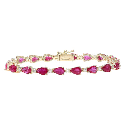 9.50 Carat Natural Ruby 14K Solid Yellow Gold Diamond Bracelet