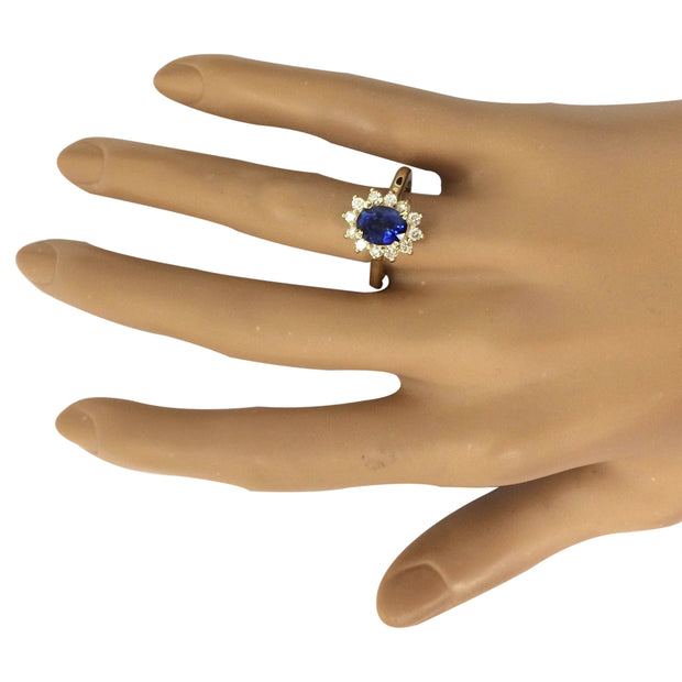 2.30 Carat Natural Sapphire 14K Solid Yellow Gold Diamond Ring - Fashion Strada