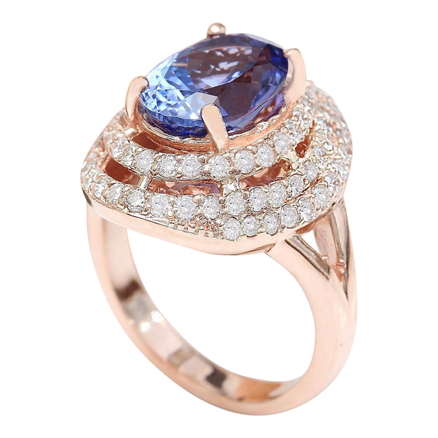 5.33 Carat Natural Tanzanite 14K Solid Rose Gold Diamond Ring