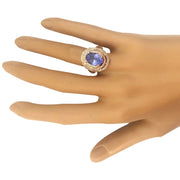 5.33 Carat Natural Tanzanite 14K Solid Rose Gold Diamond Ring - Fashion Strada
