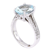 8.96 Carat Natural Aquamarine 14K Solid White Gold Diamond Ring - Fashion Strada