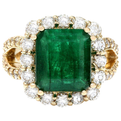 7.49 Carat Natural Emerald 14K Solid Yellow Gold Diamond Ring