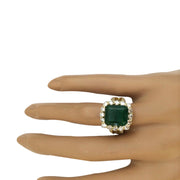 7.49 Carat Natural Emerald 14K Solid Yellow Gold Diamond Ring - Fashion Strada