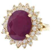 9.86 Carat Natural Ruby 14K Solid Yellow Gold Diamond Ring