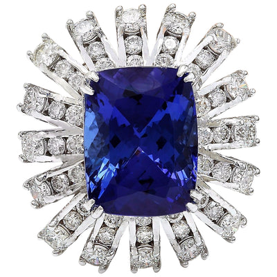13.51 Carat Natural Tanzanite 14K Solid White Gold Diamond Ring