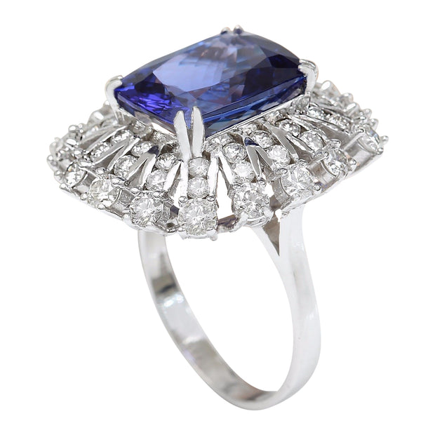 13.51 Carat Natural Tanzanite 14K Solid White Gold Diamond Ring - Fashion Strada