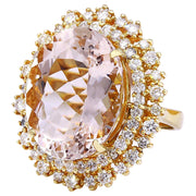 18.42 Carat Natural Morganite 14K Solid Yellow Gold Diamond Ring - Fashion Strada