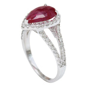 2.13 Carat Natural Ruby 14K Solid White Gold Diamond Ring - Fashion Strada