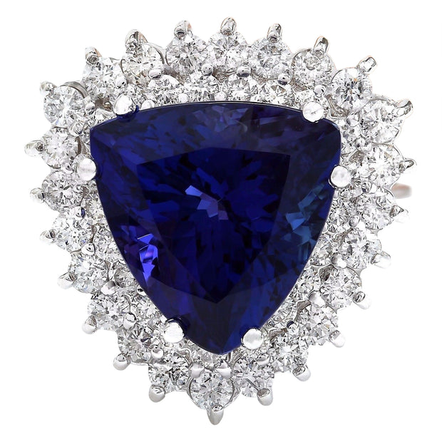 10.62 Carat Natural Tanzanite 14K Solid White Gold Diamond Ring - Fashion Strada