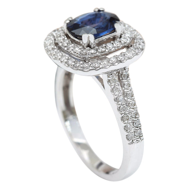 2.26 Carat Natural Sapphire 14K Solid White Gold Diamond Ring - Fashion Strada
