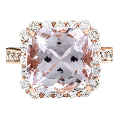 11.87 Carat Natural Kunzite 14K Solid Rose Gold Diamond Ring