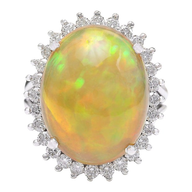 13.48 Carat Natural Opal 14K Solid White Gold Diamond Ring