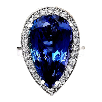 15.18 Carat Natural Tanzanite 14K Solid White Gold Diamond Ring