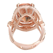 11.51 Carat Natural Morganite 14K Solid Rose Gold Diamond Ring