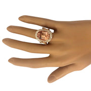 11.51 Carat Natural Morganite 14K Solid Rose Gold Diamond Ring - Fashion Strada
