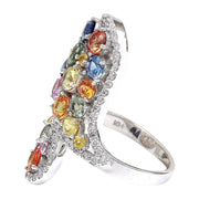 5.33 Carat Natural Sapphire 14K Solid White Gold Diamond Ring - Fashion Strada