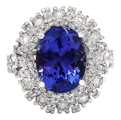 7.14 Carat Natural Tanzanite 14K Solid White Gold Diamond Ring