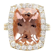 12.52 Carat Natural Morganite 14K Solid Yellow Gold Diamond Ring
