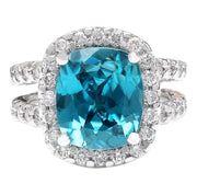 13.30 Carat Natural Zircon 14K Solid White Gold Diamond Ring - Fashion Strada