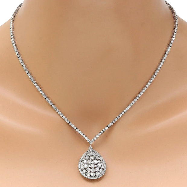 7.80 Carat Natural Diamond 14K Solid White Gold Necklace
