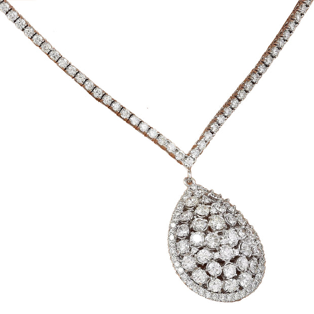 7.80 Carat Natural Diamond 14K Solid White Gold Necklace - Fashion Strada