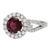 2.40 Carat Natural Tourmaline 14K Solid White Gold Diamond Ring - Fashion Strada