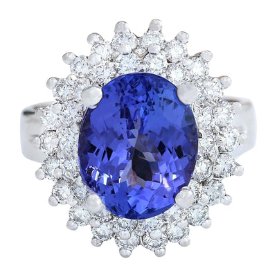 6.22 Carat Natural Tanzanite 14K Solid White Gold Diamond Ring