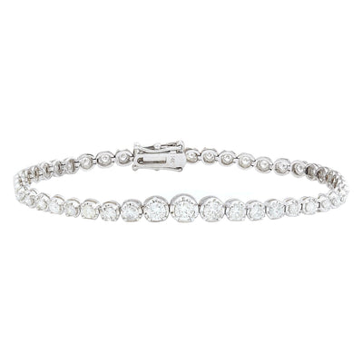 3.50 Carat Natural Diamond 14K Solid White Gold Bracelet