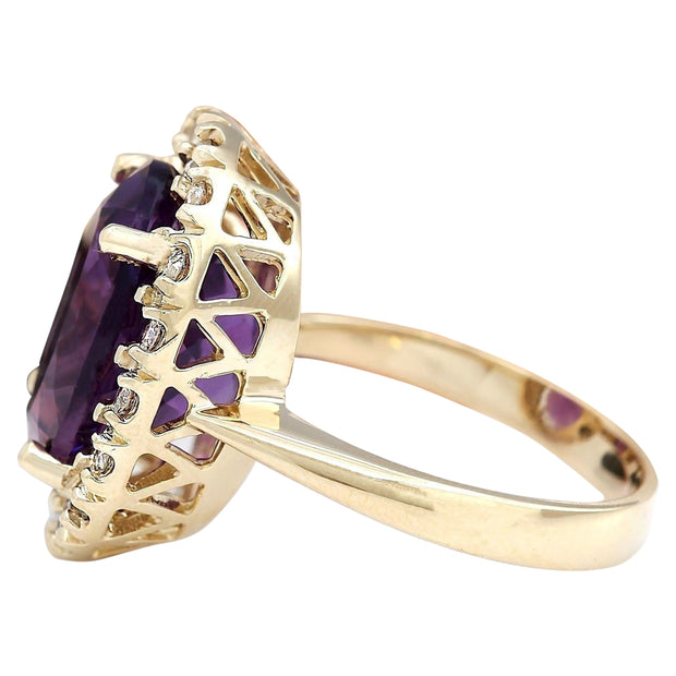 8.40 Carat Natural Amethyst 14K Solid Yellow Gold Diamond Ring