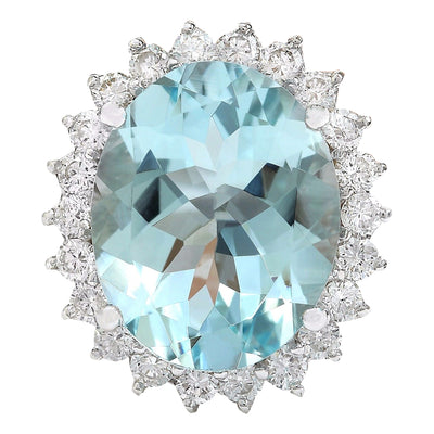 8.10 Carat Natural Aquamarine 14K Solid White Gold Diamond Ring