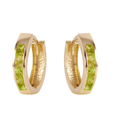 14K Solid Gold Hoop Huggie Earrings with Peridots