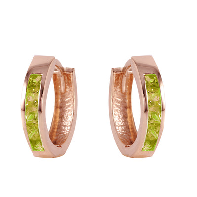 14K Rose Gold Hoop Huggie Earrings with Peridots