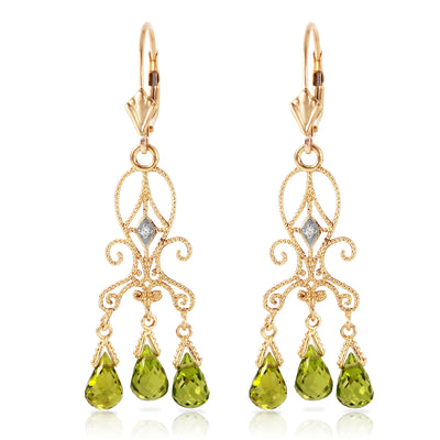 14K Solid Gold Chandelier Diamonds Earrings with Peridots - Fashion Strada