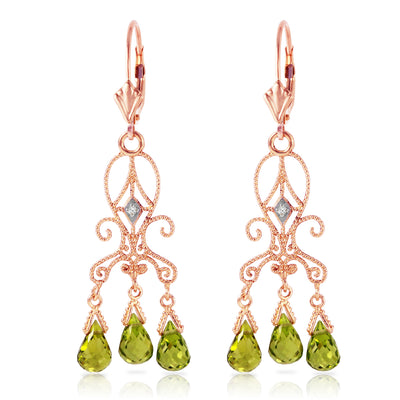 14K Rose Gold Chandelier Diamonds Earrings with Peridots - Fashion Strada