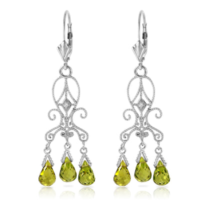 14K White Gold Chandelier Diamonds Earrings with Peridots - Fashion Strada