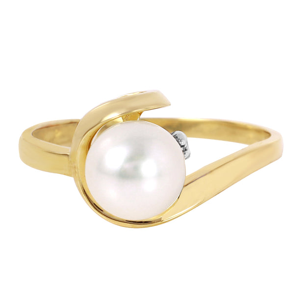 14K Solid Gold Ring with Diamond & Pearl - Fashion Strada
