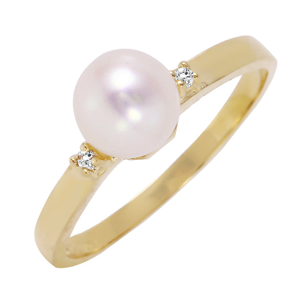 14K Solid Gold Ring with Diamonds & Pearl - Fashion Strada