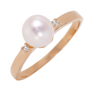 Ladies 14K Rose Gold Ring with Diamonds & Pearl - Fashion Strada