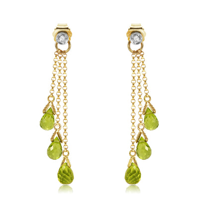 Ladies 14K Solid Gold Chandeliers Earrings with Diamonds & Peridots - Fashion Strada