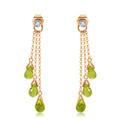 Ladies 14K Rose Gold Chandeliers Earrings with Diamonds & Peridots - Fashion Strada
