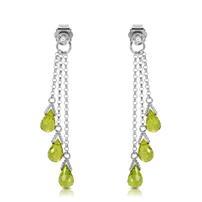 Ladies 14K White Gold Chandeliers Earrings with Diamonds & Peridots - Fashion Strada