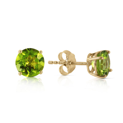 Ladies 14K Solid Gold Stud Earrings with Peridots - Fashion Strada