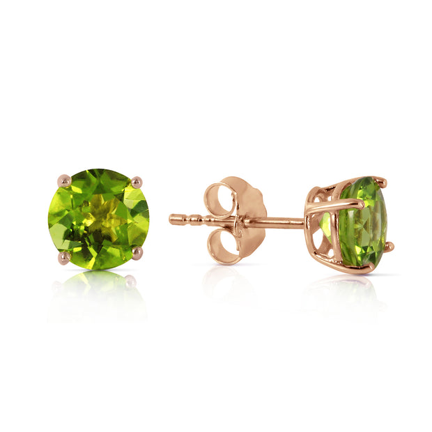 Ladies 14K Rose Gold Stud Earrings with Peridots - Fashion Strada