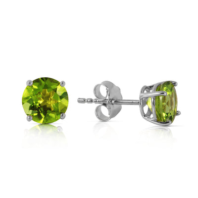 Ladies 14K White Gold Stud Earrings with Peridots - Fashion Strada