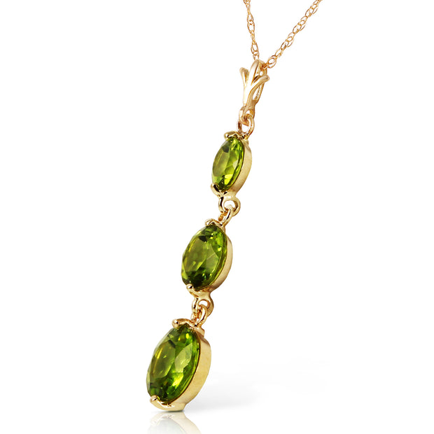 Ladies 14K Solid Gold Necklace with Peridots - Fashion Strada